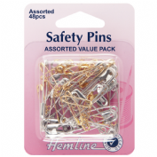 Hemline Safety Pins - Assorted Value pack - Brass and Nickel - 48 pack